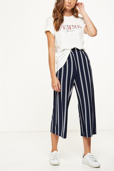 Lauren Drapey Culotte, AMY VERTICAL STRIPE MOONLIGHT