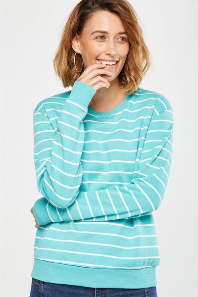 Ferguson Graphic Crew Sweater, WHITE STRIPE/BRIGHT AQUA MARLE