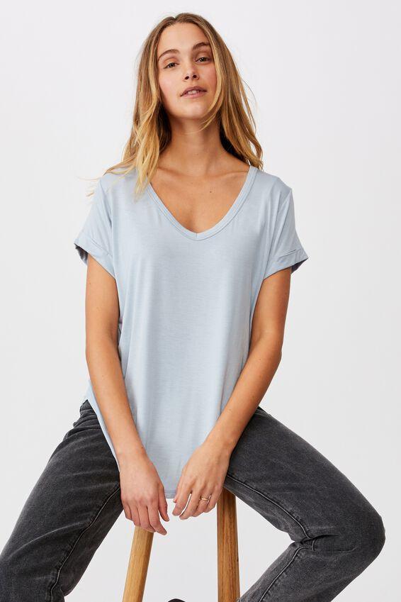 Karly Short Sleeve V Neck Top, WASHED BLUE