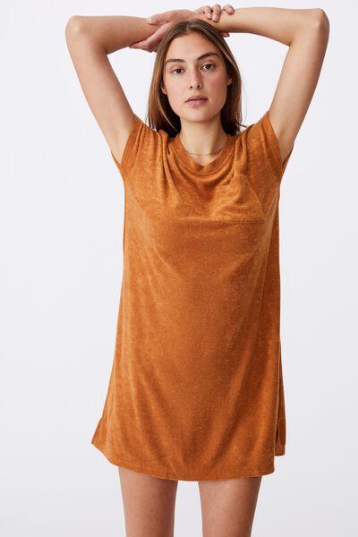 Terry Towelling Tshirt Dress, GOLDEN BROWN