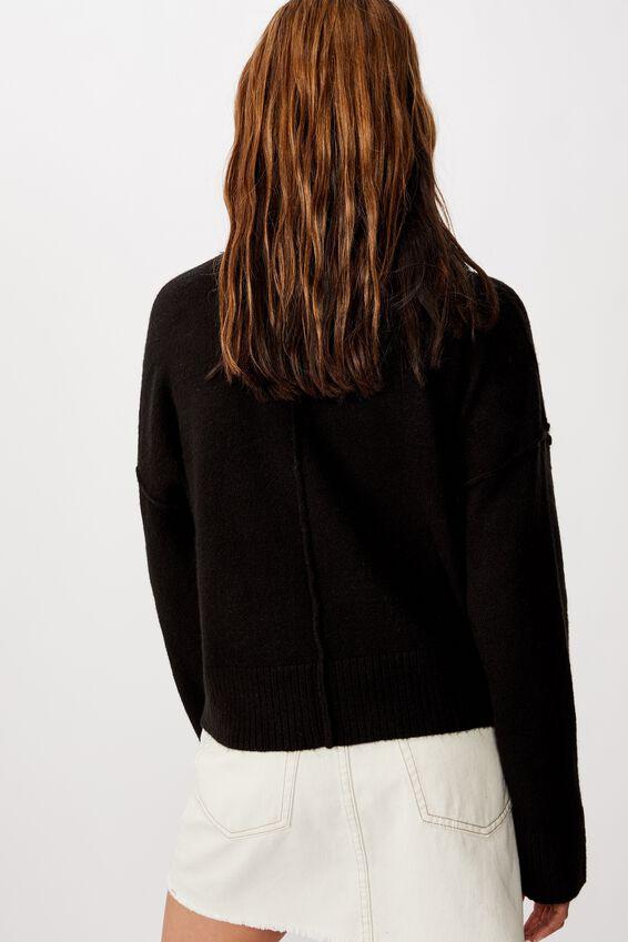 Side Button Pullover, BLACK