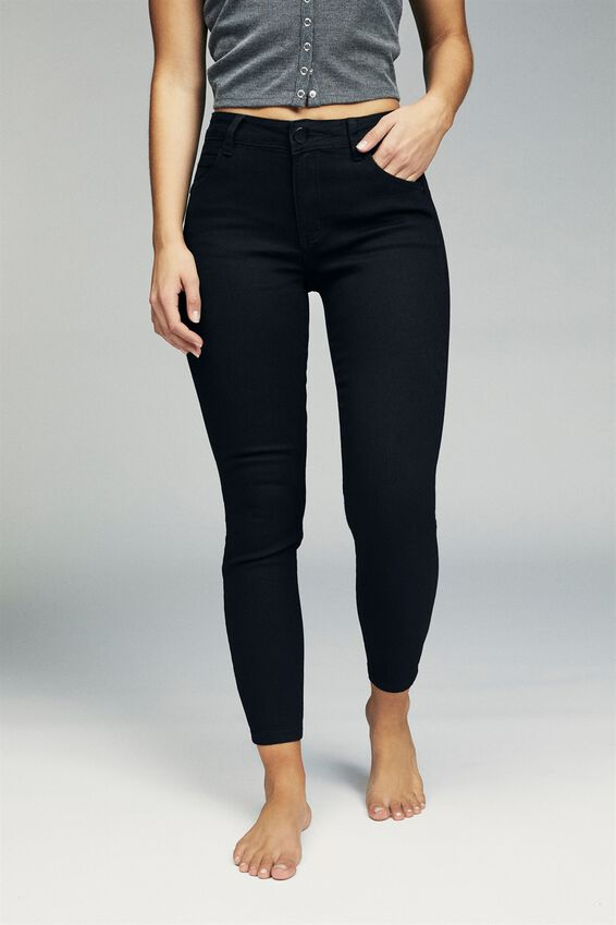 Mid Rise Cropped Skinny Jean, CORE BLACK