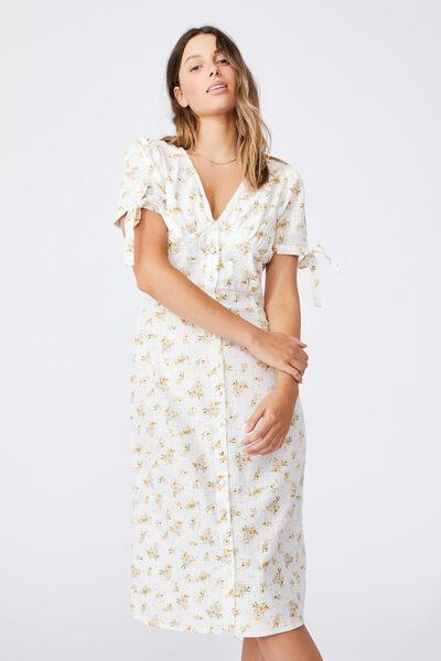 Woven Chantelle Button Through V Neck Midi Dress, GEORGIA DAISY WHITE MINI