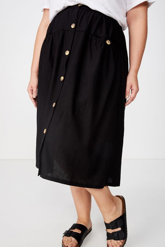 Curve Gathered Willow Skirt, BLACK