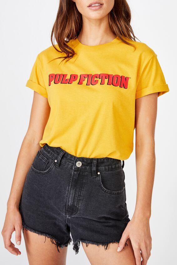 Classic Tv Movie T Shirt, LCN MIR PULP FICTION LOGO/MINERAL YELLOW