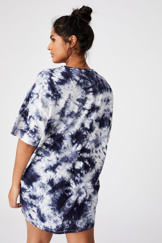 Curve 90S T-Shirt Nightie, NAVY TIE DYE