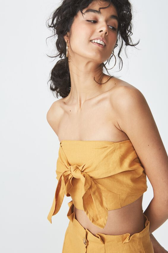 Tania Tie Front Bandeau Top, SPRUCE YELLOW