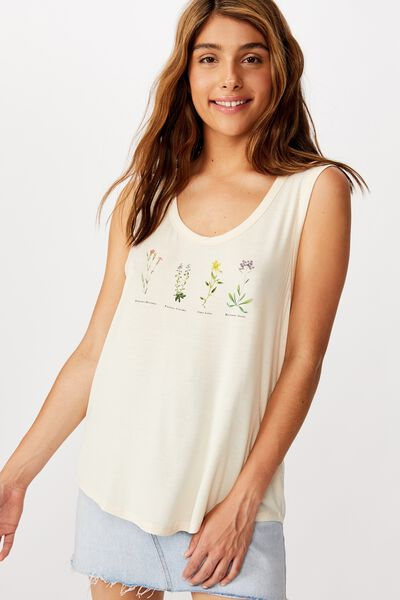 Tbar Parker Graphic Tank, BOTANICALS/SUGAR COOKIE