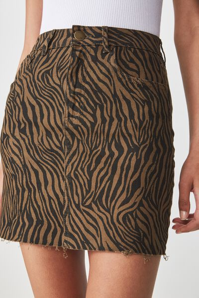 Classic Stretch Denim Mini Skirt, SARAH ZEBRA BLACK