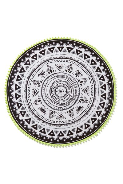 The Round Towel, BLACK/WHITE MANDALA