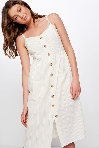 Woven Beth Button Front Midi Dress, TEXTURED CREAM STRIPE