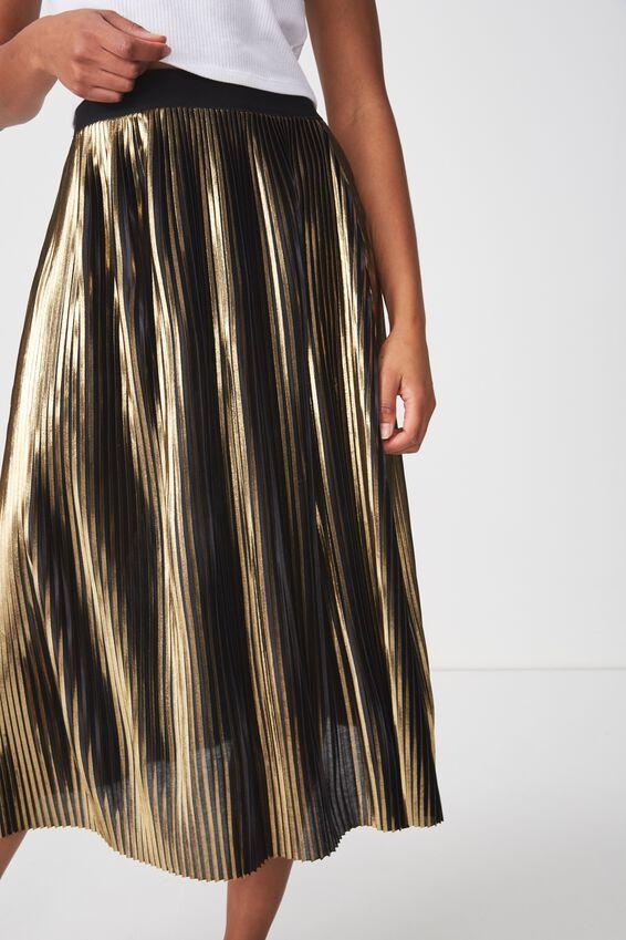 Woven Daria Pleated Midi Skirt, GOLD METALLIC