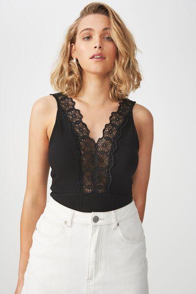 Lace Trim Sleeveless Bodysuit, BLACK