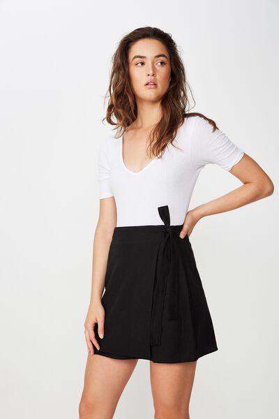 Woven Heidi Wrap Mini Skirt, BLACK