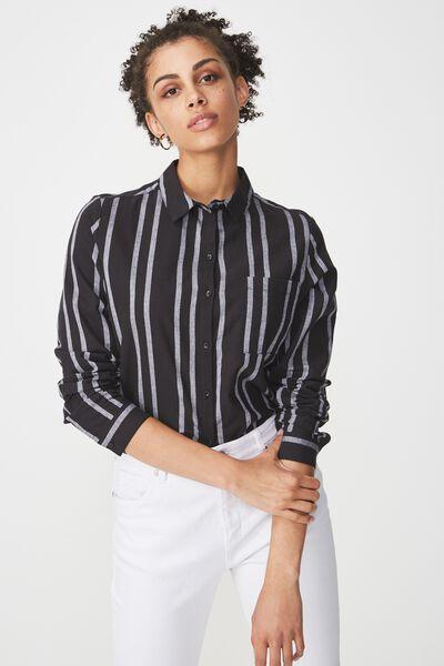 Casual Rebecca Shirt, SALMA STRIPE BLACK