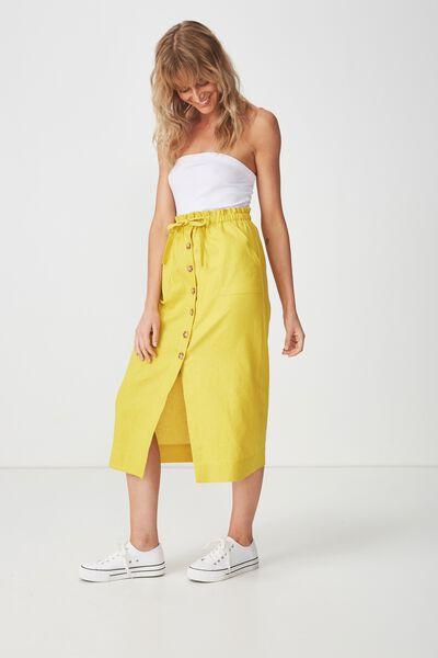 Woven Molly Button Through Midi Skirt, ANTIQUE MOSS