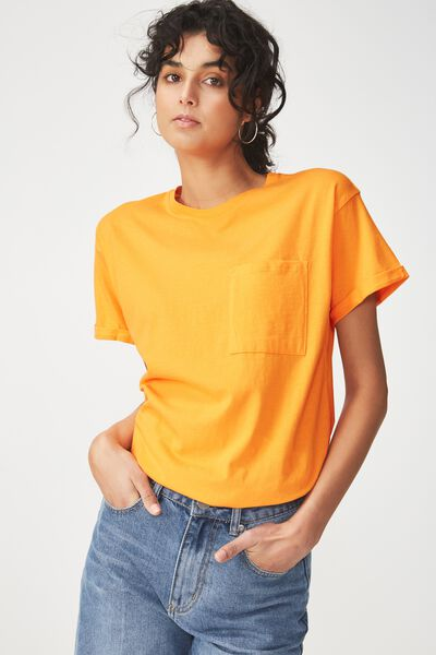 The One Boyfriend Pocket Tee, CITRUS ORANGE