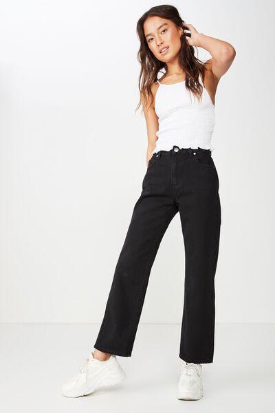 High Straight Crop Jean, SEATTLE FADED BLACK