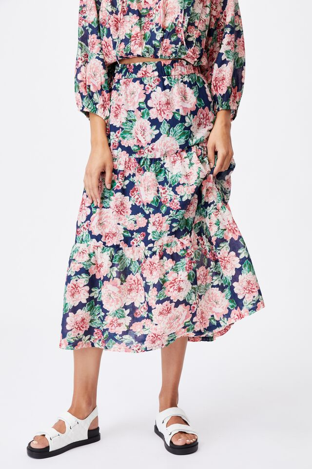 Float On Maxi Skirt, KEILY FLORAL MEDIEVAL BLUE