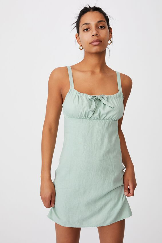 Woven Layla Tie Front Mini Dress, LUSH GREEN