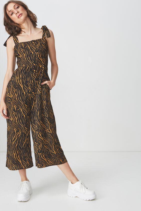 Woven Alexa Strappy Jumpsuit, SARAH ZEBRA OLIVE AND BLACK