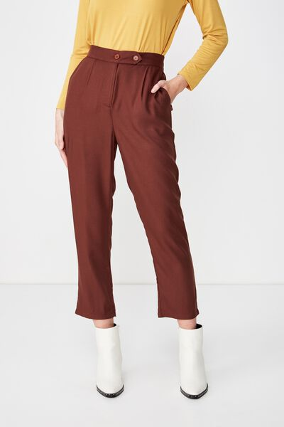 Amy Tapered Pant, BITTER CHOCOLATE TEXTURED
