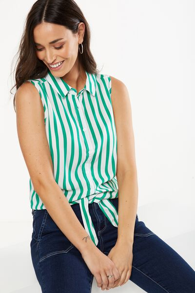Belle Sleeveless Shirt, LUCY STRIPE CANTON