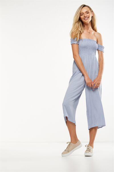 Woven Mazie Off The Shoulder Shirred Jumpsuit, ISLA PINSTRIPE CADET BLUE