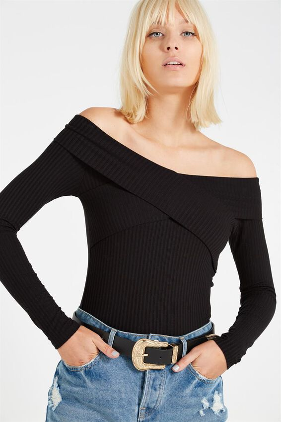 Louella Wrap Off Shoulder Long Sleeve Top, BLACK
