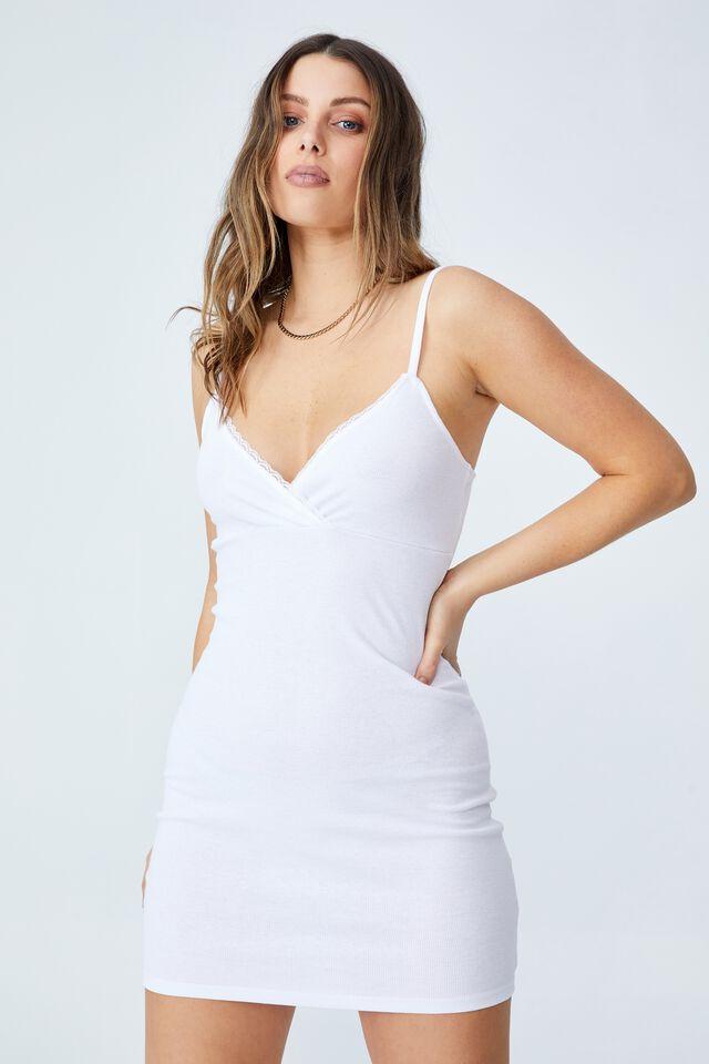 Darla Lace Cross Front Mini Dress, WHITE
