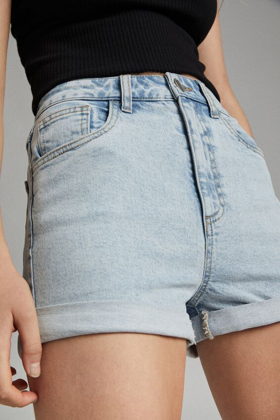 High Rise Classic Stretch Denim Short, APOLLO BLUE