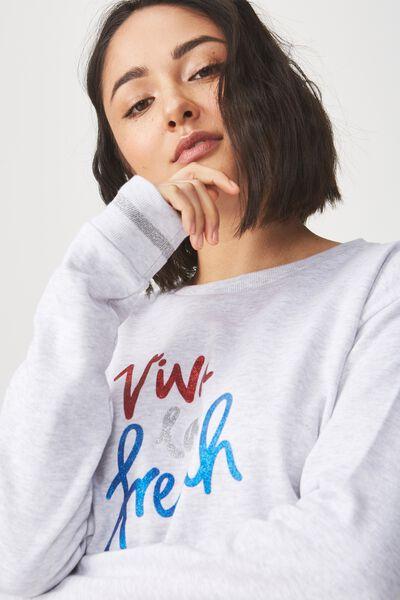 Ferguson Graphic Crew Sweater, VIVA LA FRENCH/SILVER MARLE