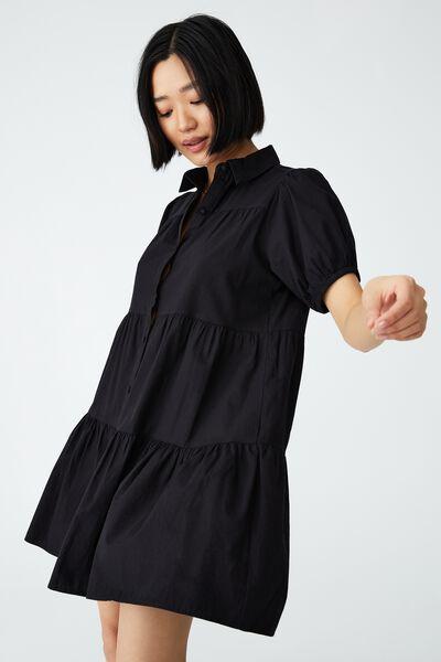 Woven Petite Nikki Mini Shirt Dress, BLACK