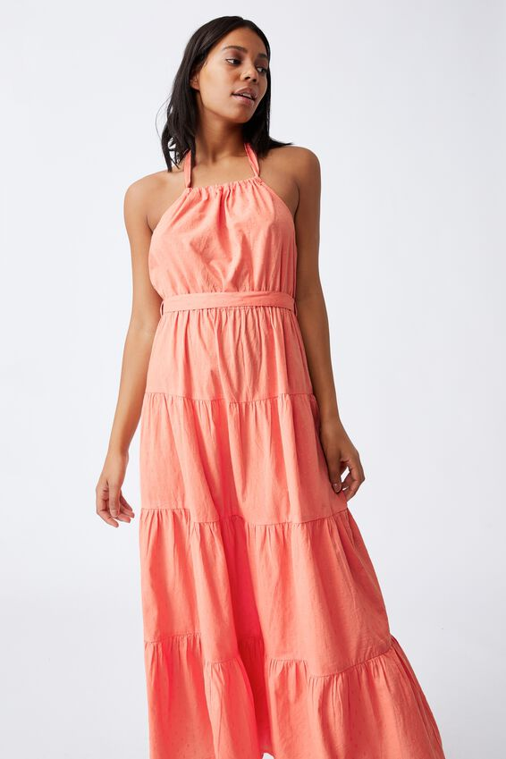 Woven Daisy Halter Neck Maxi Dress, PEACH PALM