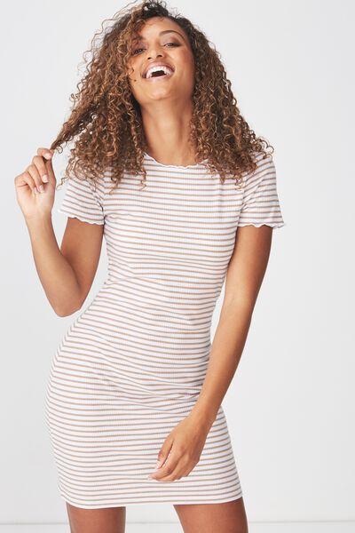 Gracie Lettuce Edge Tshirt Dress, MILLY STRIPE LATTE