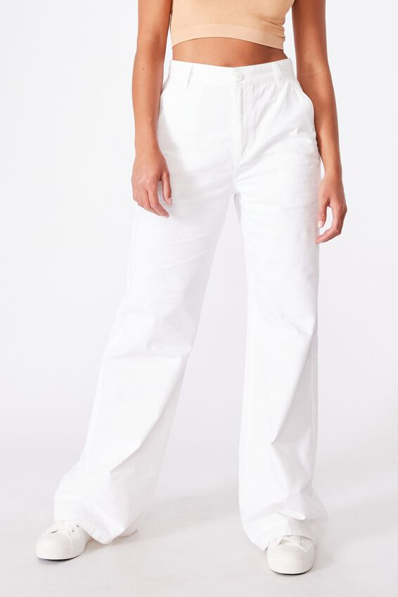 Parker Long Straight Pant, CHALK WHITE