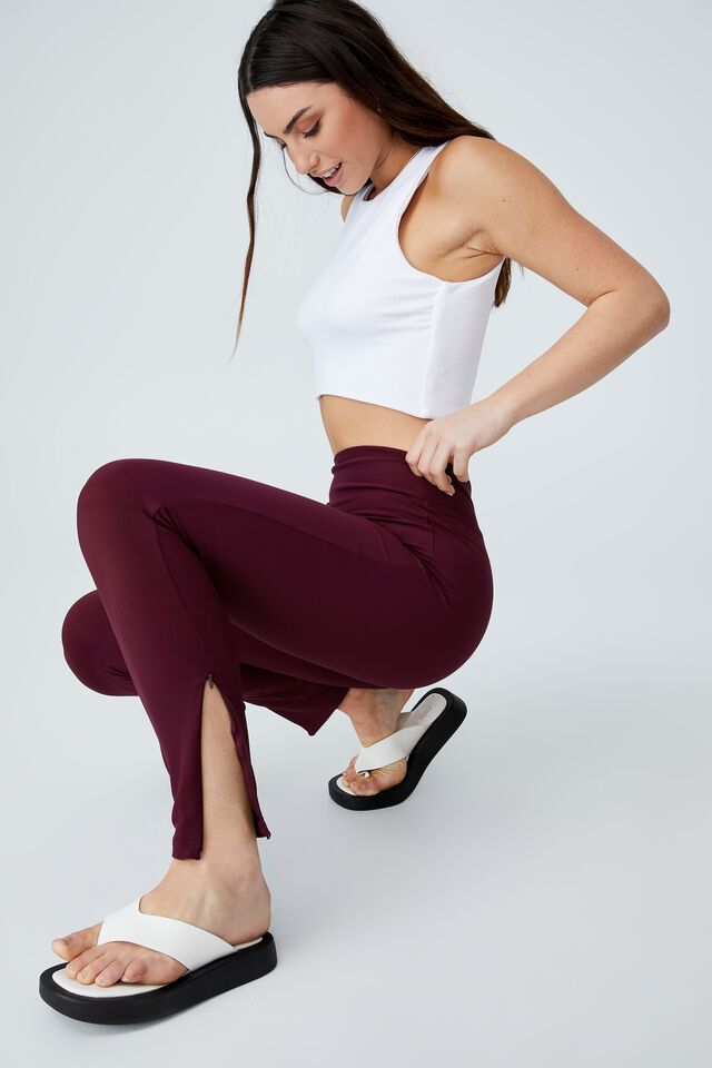 Side Zip Rib Legging, WINE