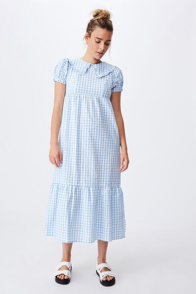 Woven Nori Babydoll Wide Collar Medaxi Dress, GERI GINGHAM COLLEGIATE BLUE