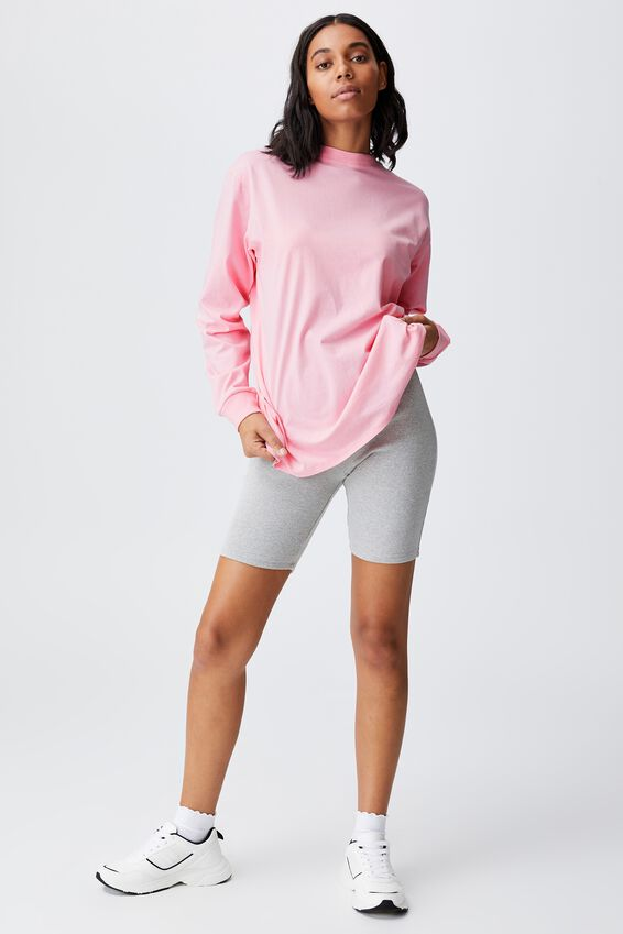 Basic Oversized Long Sleeve Top, PRISM PINK