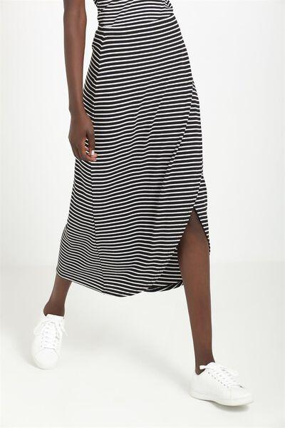 Sea Moonshine Wrap Skirt, BLACK/WHITE BETTY RIB STRIPE