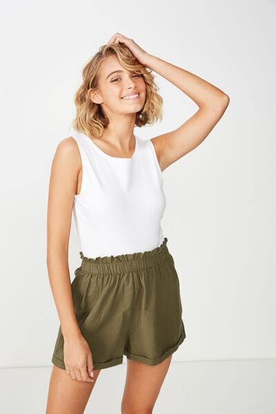 Maisy Paperbag Short, BURNT OLIVE