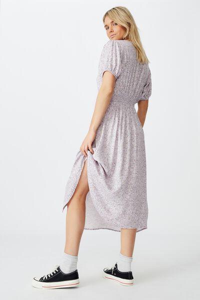 Woven Clara Button Through Midi Dress, KAYLA DITSY SOFT ORCHID