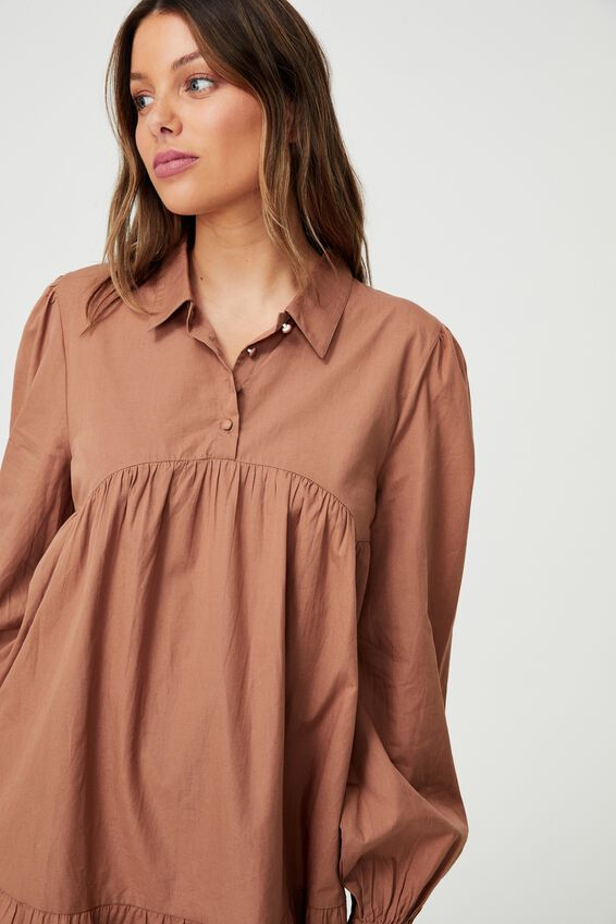 Woven Ls Babydoll Mini Shirt Dress, COCOA BEAN