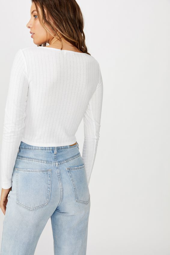 Florence U/Notch Long Sleeve Top, WHITE POINTELLE