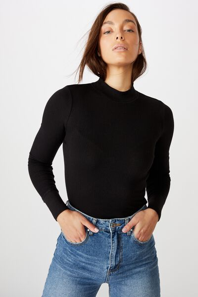 Ryder Mock Neck Long Sleeve Top, BLACK