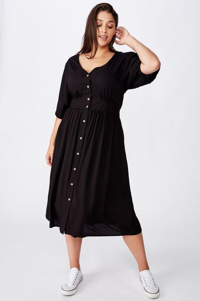 Curve Woven Chloe Puff Sleeve Midi Dress, BLACK