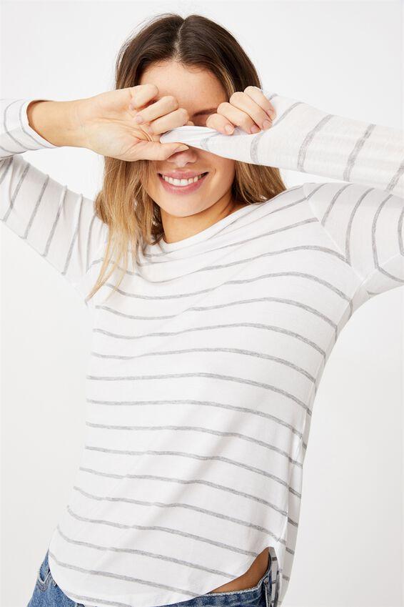 Kathleen Long Sleeve Top, ZOE STRIPE WHITE/GREY MARLE