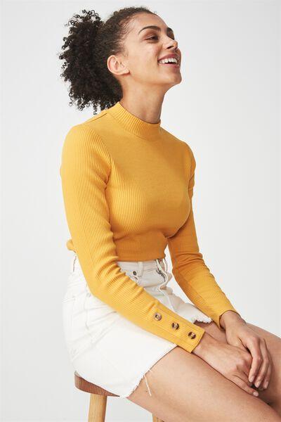 Letitia Button Detail Long Sleeve Top, SUNFLOWER
