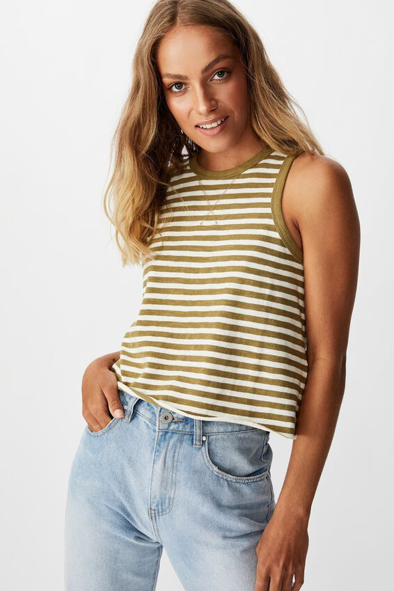 The High Crew Boxy Chop Tank, HUNT STRIPE DRIED HERB/GARDENIA