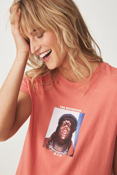 Tbar Fox Graphic T Shirt, LCN NOTORIOUS BIG/CORAL